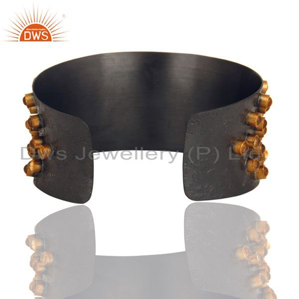 Suppliers Black Oxidized 925 Sterling Silver Handmade Textured Citrine Cab Cuff Bangle