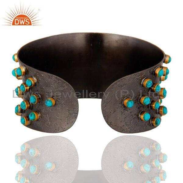Suppliers Oxidized Sterling Silver Turquoise Gemstone Wide Cuff Bracelet Bangle