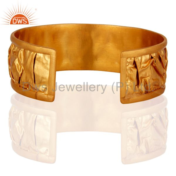 Suppliers Gold Plated 925 Sterling Silver Hammered Fashion Wedding Bangle Cuff Bracelet