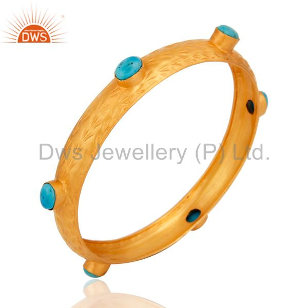 Wholesalers of 18k yellow gold plated sterling silver turquoise gemstone bangle