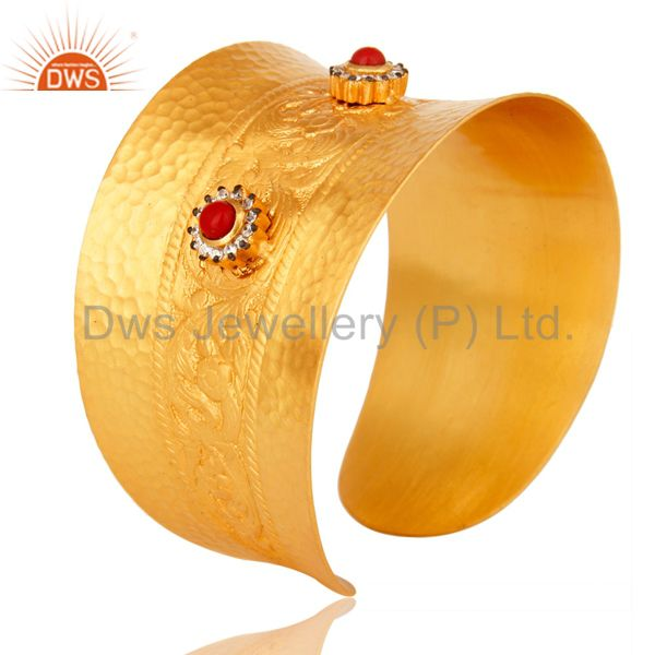 Suppliers 18K Yellow Gold Plated Red Coral And White Zircon Extra Wide Cuff Bracelet Bang