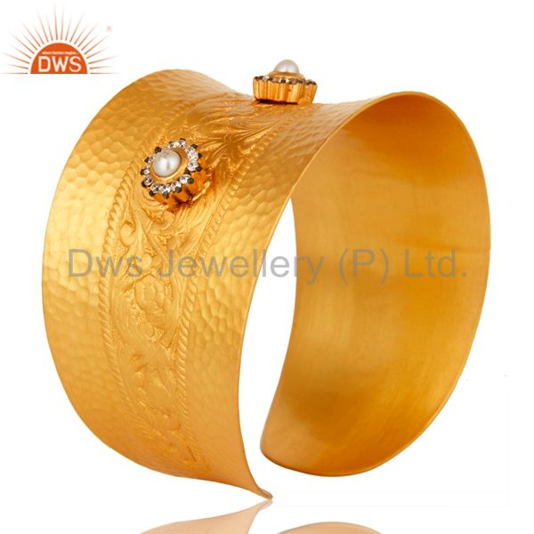 Suppliers 18K Yellow Gold Plated Natural Pearl And CZ Wide Cuff Bracelet Bangle