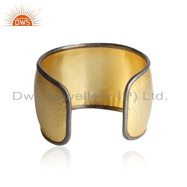 Designer of Yellow gold plated silver bold cuff with pearl and white topaz