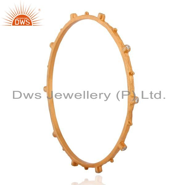 Supplier of 18k yellow gold plated sterling silver white zircon fashion bangle