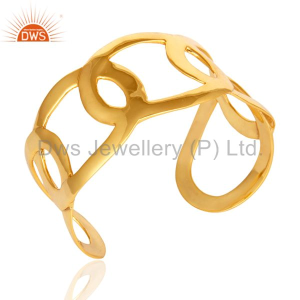 Suppliers Shiny Polished Wide Bangle Cuff Bracelet in 14k Yellow Gold Over Brass Jewelry