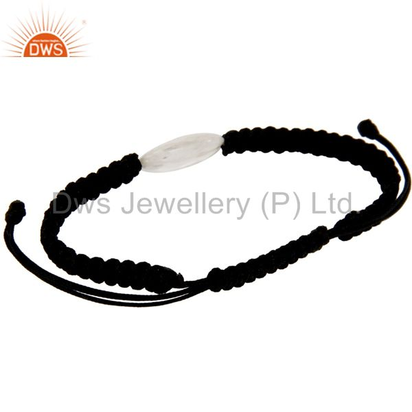 Suppliers Natural Crystal Quartz Black Cord Macrame Adjustable Bracelet