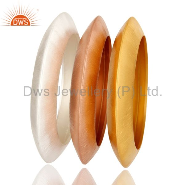 Wholesalers of 18k gold plated sterling silver brushed finish bangle set of 3 pcs