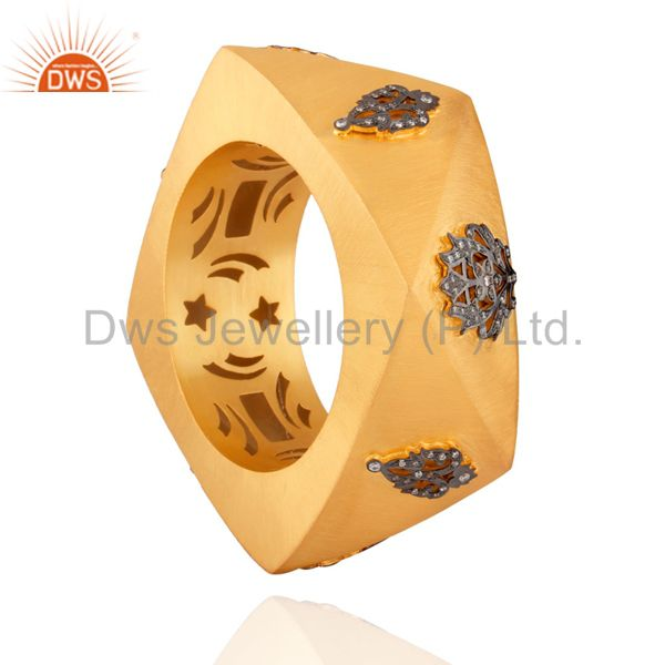 Wholesalers of 18k gold over 925 silver cubic zirconia wedding fashion wide bangle