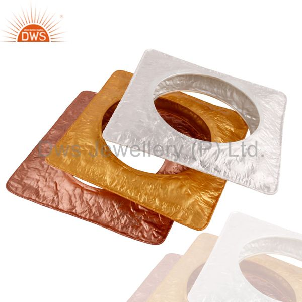 Wholesalers of Handcrafted 925 silver chunky square bangle gold plated 3 pcs set
