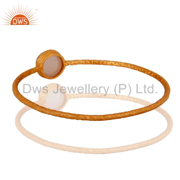 Wholesalers of Solid 925 silver rose chalcedony 18k yellow gold plated bangle