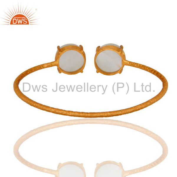 Wholesalers of Handmade sterling silver 18k gold plated white moonstone bangle
