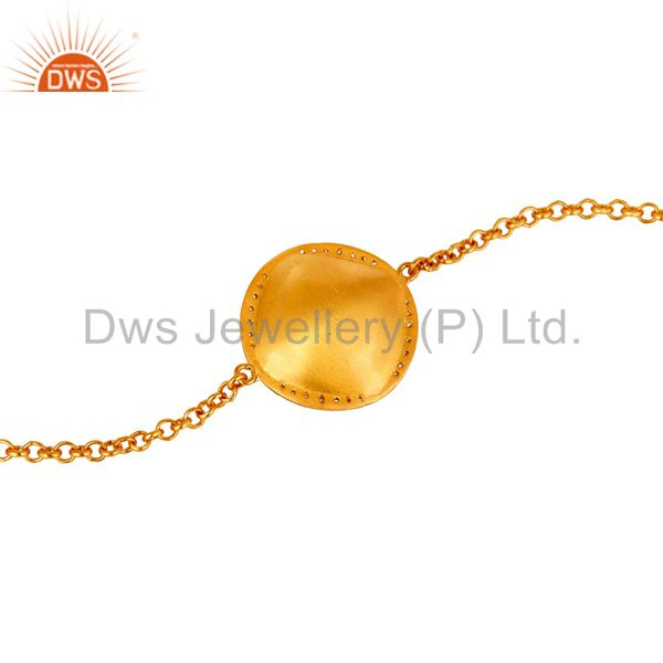 Suppliers 14K Yellow Gold Plated Sterling Silver Crystal Quartz And CZ Chain Bracelet