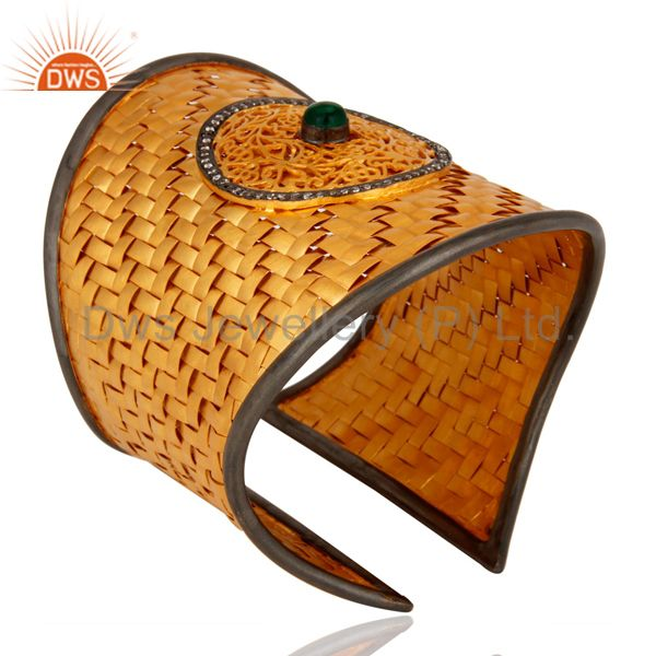 Suppliers Green Onyx & CZ 24K Gold Plated Sterling Silver Wire Woven Cuff Bracelet Bangle