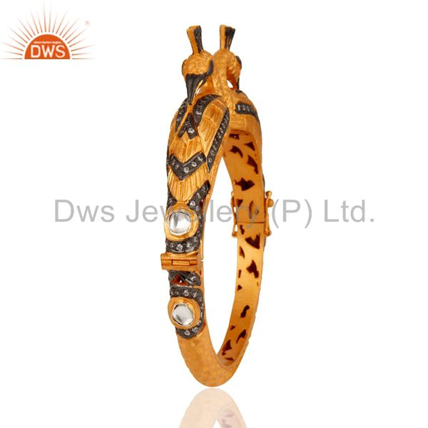 Wholesalers of Peacock design 22k gold on 925 silver crystal white zircon bangle
