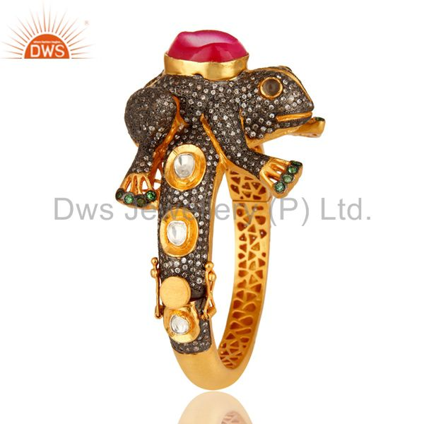 Wholesalers of 18k gold 925 silver druzy agate cz polki antique look frog bangle