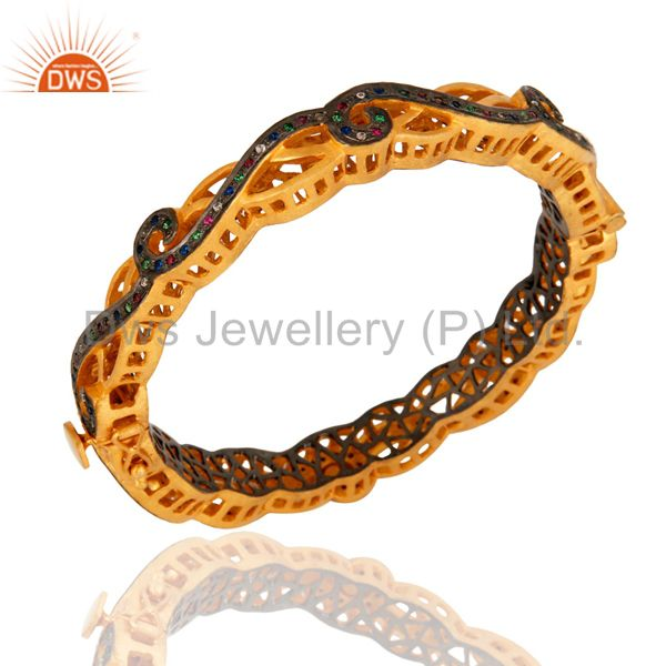 Suppliers Multi Color Cubic Zirconia Sterling Silver Fashion Designer Bangle - Gold Plated