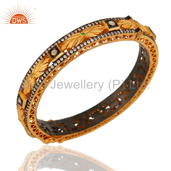 Suppliers 18K Yellow Gold Plated Sterling Silver Cubic Zirconia Designer Openable Bangle