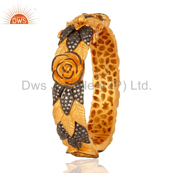 Manufacturer of 14K Gold Plated Sterling Silver CZ Cubic Zirconia Openable Style Bangle Jewelry In India
