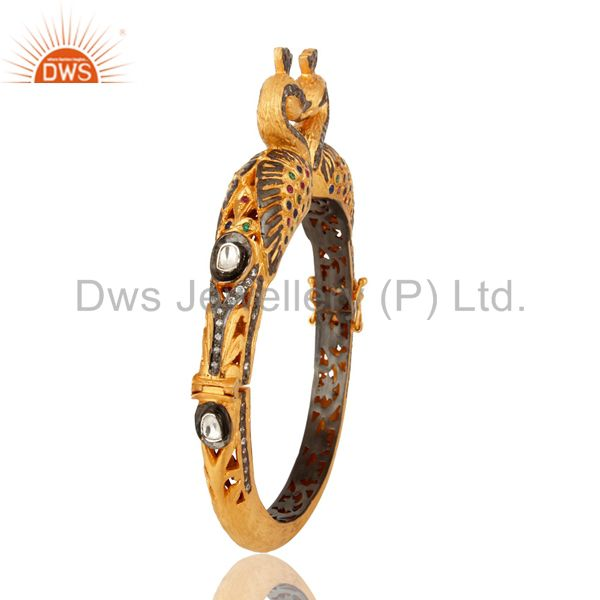 Wholesalers of 18k gold plated 925 silver mixed color cz double peacock bangle