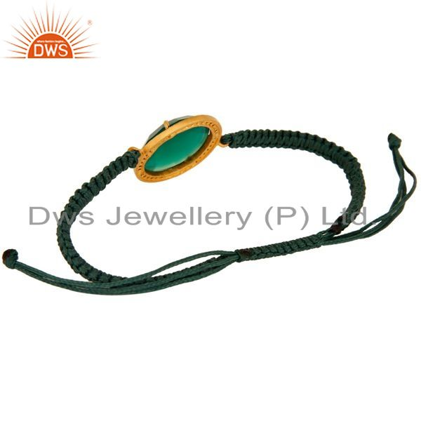 Suppliers Faceted Green Onyx Gemstone And Cubic Zirconia Macrame Bracelet Jewelry
