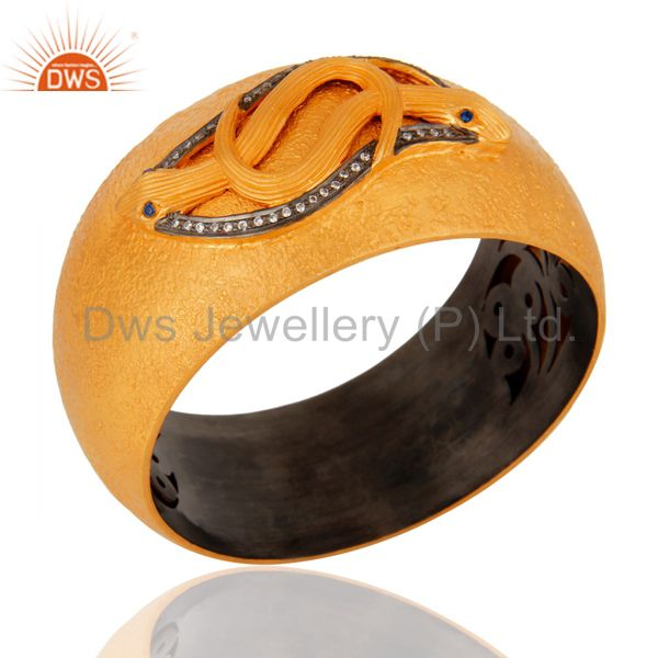 Wholesalers of 18k yellow gold silver white zircon vintage style snake wide bangle