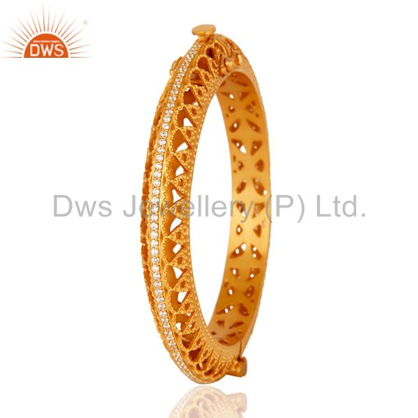 Suppliers 18K Yellow Gold Plated 925 Sterling Silver Openable Bangle With Cubic Zirconia