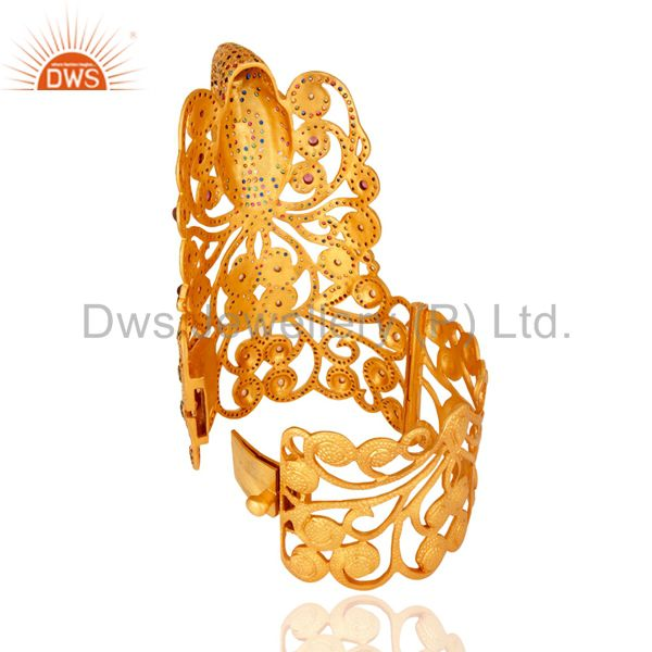 Wholesalers of Multi coloured cz peacock design unique silver bangle gold plated