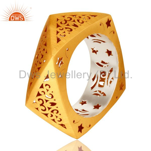 Wholesalers of 22k yellow gold plated 925 silver unique filigree designer bangle