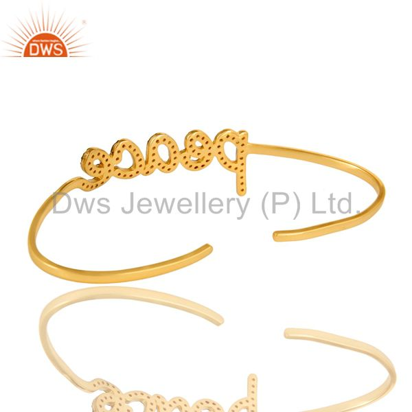 Suppliers 18K Gold Plated Sterling Silver Citrine Cursive Style Peace Cuff Bangle