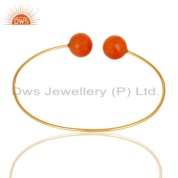 Suppliers 14K Yellow Gold Plated 925 Sterling Silver Faceted Red Onyx Adjustable Bangle