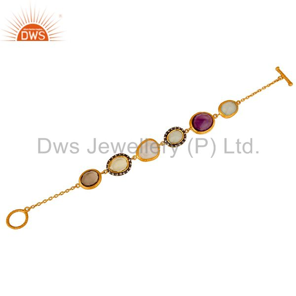Suppliers 22K Yellow Gold Plated Sterling Silver Multi Colored Gemstone Bracelet With CZ