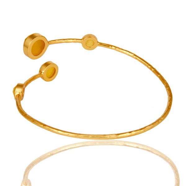 Suppliers 18K Yellow Gold Plated Yellow Moonstone Sterling Silver Handmade Cuff Bangle