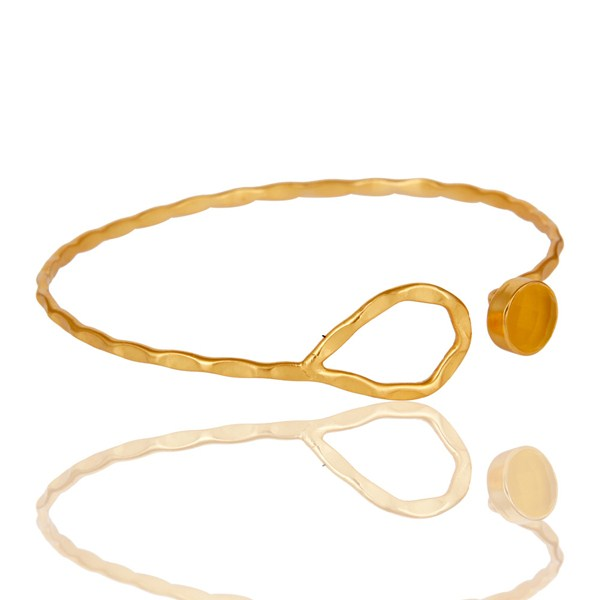 Wholesalers of Yellow moonstone 18k gold over sterling silver openable cuff bangle