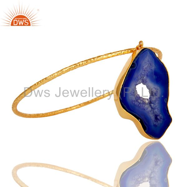 Wholesalers of Natural blue drusy 18k gold plated sterling silver gemstone bangle