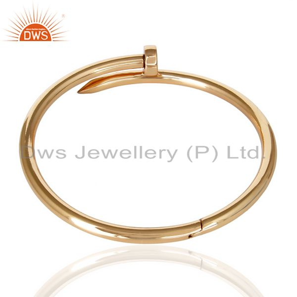 Wholesalers of Rose gold plated screw style cuff sterling silver cuff band bangle