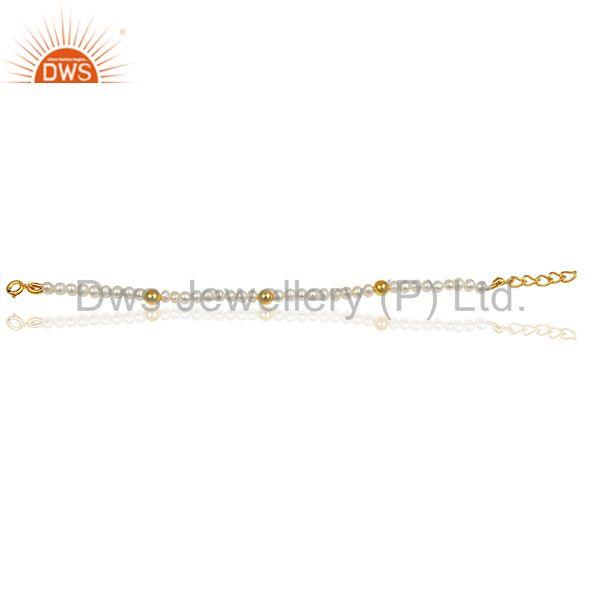 Suppliers Solid 925 Silver Gold Plated Natural Beaded Pearl Bracelet Jewelry