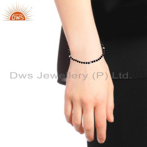 Suppliers Solid 925 Sterling Silver Natural Black Onyx Gemstone Beads Chain Bracelet