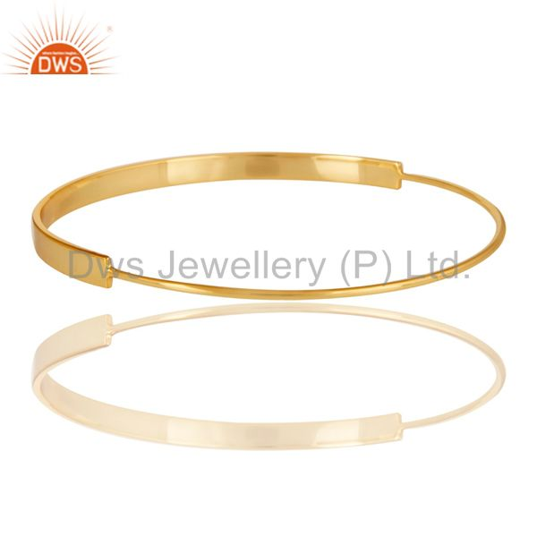 Wholesalers of 18k gold plated 925 sterling silver handmade simple fashion bangle