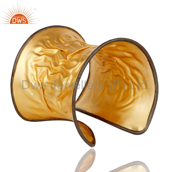 Suppliers 18k Gold Plated 925 Sterling Silver Traditional Handmade Design Cuff Bracelet