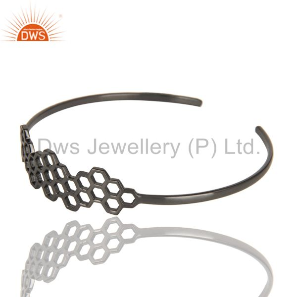 Wholesalers of Black oxidized 925 silver handmade new fashion openable palm bangle