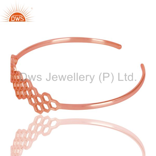 Wholesalers of 18k rose gold 925 silver handmade fashion openable palm bangle