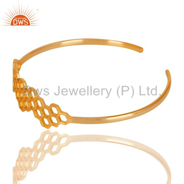 Wholesalers of 18k gold over 925 silver handmade new fashion openable palm bangle