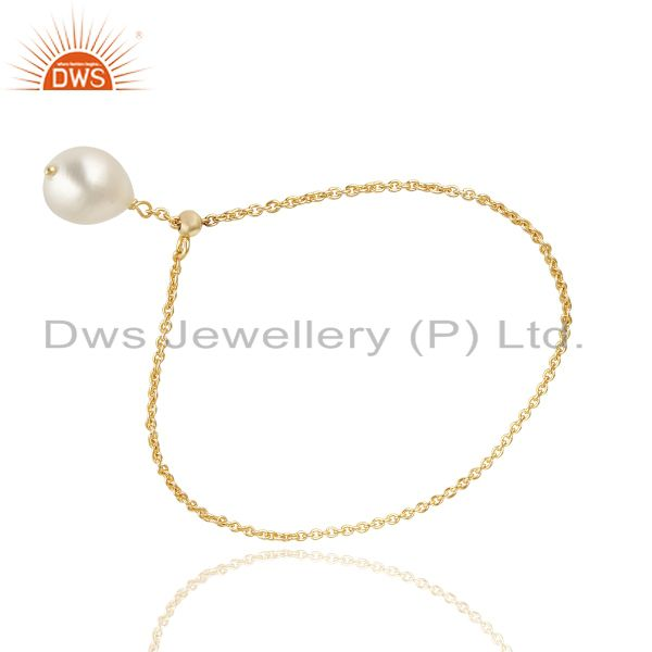 Suppliers 14K Yellow Gold Plated 925 Sterling Silver Handmade Plain Beads Chain Bracelet