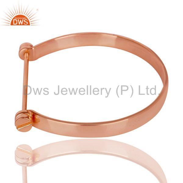 Wholesalers of 14k rose gold plated 925 silver handmade screw lock openable bangle