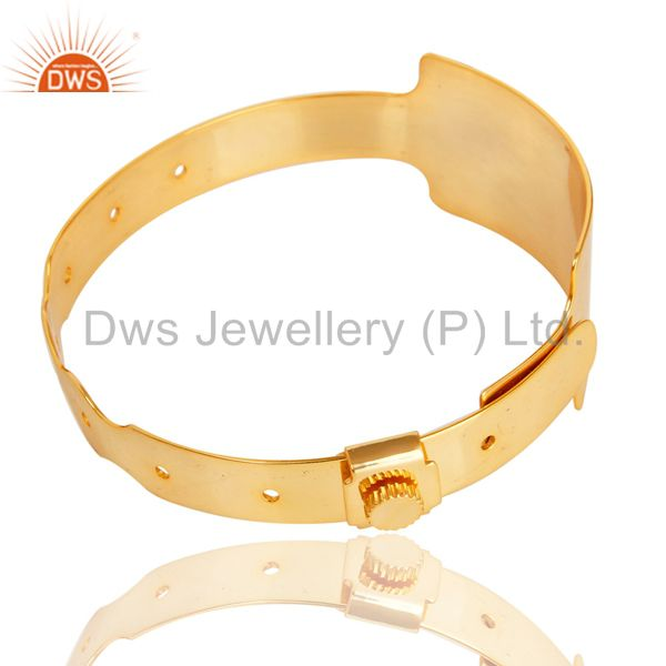 Wholesalers of 14k yellow gold plated 925 sterling silver handmade art wide bangle