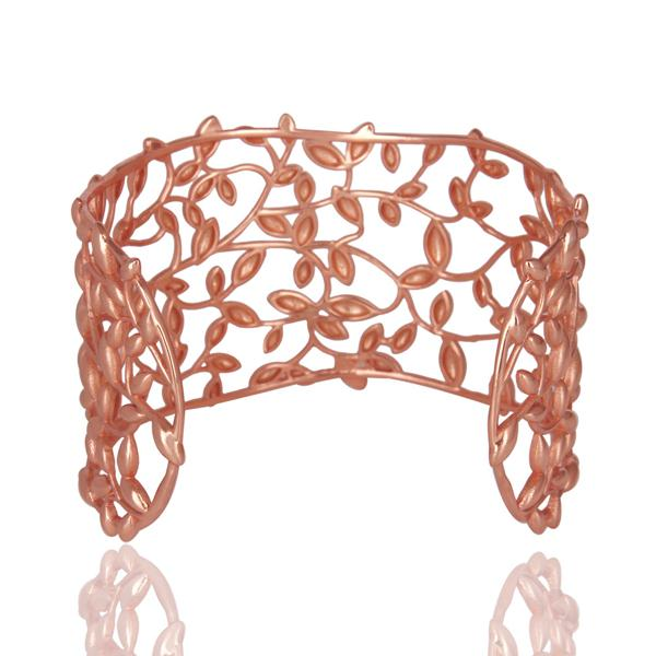 Suppliers Olive Leaf 925 Sterling Silver Rose Gold Plated Cuffs Jewelry
