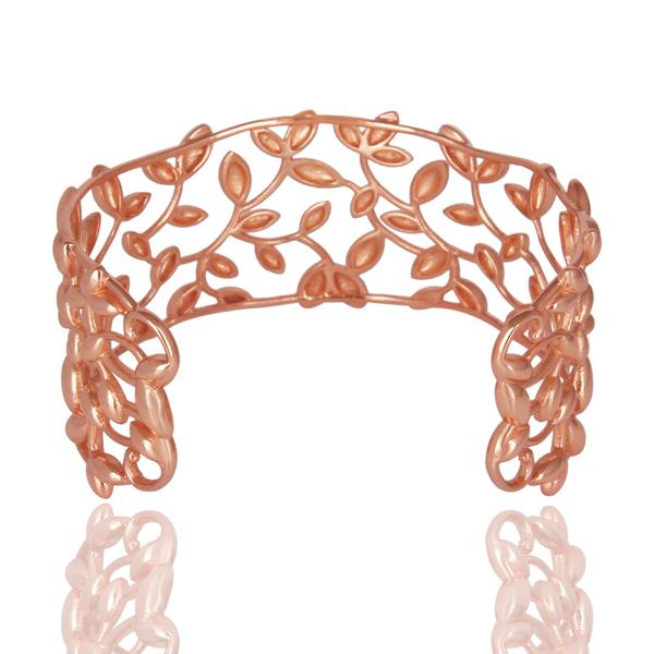Suppliers Olive Leaf Cuff 925 Sterling Silver Rose Gold Plated Jewelry