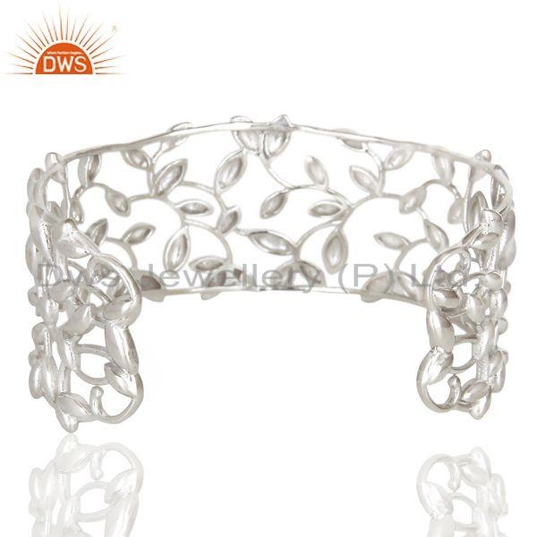Suppliers Olive Leaf Cuff 925 Sterling Silver White Rhodium Plated Jewelry