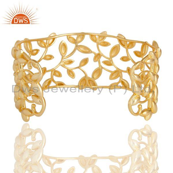 Suppliers Olive Leaf Cuff 925 Sterling Silver 18k Gold Plated Jewelry