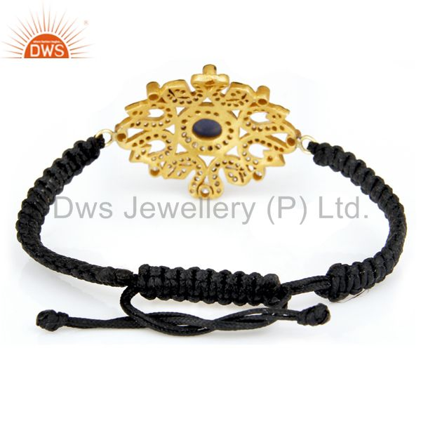 Suppliers 14K Yellow Gold Plated 925 Sterling Silver Blue Sapphire White Zircon Bracelet